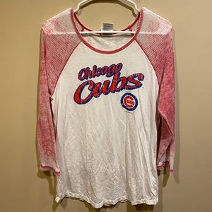 MLB White and Red Chicago Cubs Long Sleeve Top